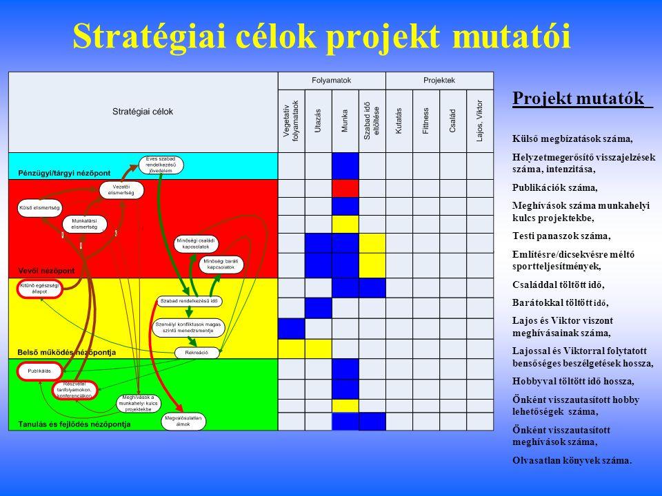 A stratégiai célok folyamat mutatói Folyamat mutatók_ Ápoltság, Gyomorpanaszok száma, Alvási idő hossza, Alvás élménye, Rossz álmok aránya, Gyermekkel