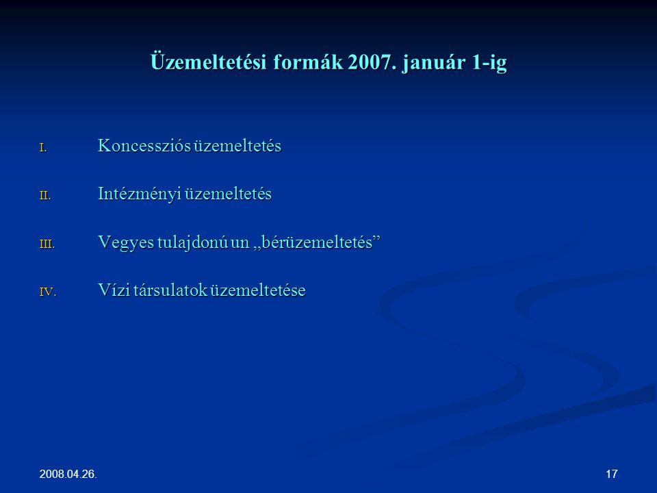 2008.04.26. 17 Üzemeltetési formák 2007. január 1-ig I.