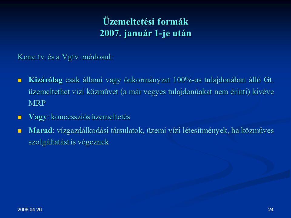 2008.04.26. 24 Üzemeltetési formák 2007. január 1-je után Konc.tv.