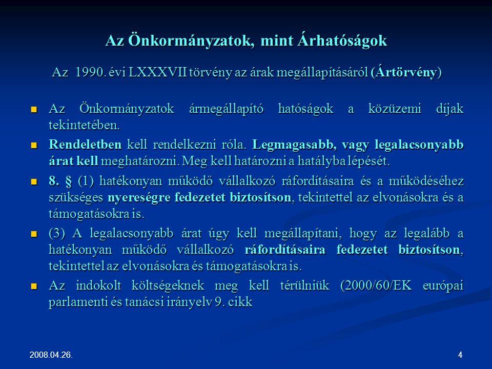 2008.04.26. 4 Az Önkormányzatok, mint Árhatóságok Az 1990.