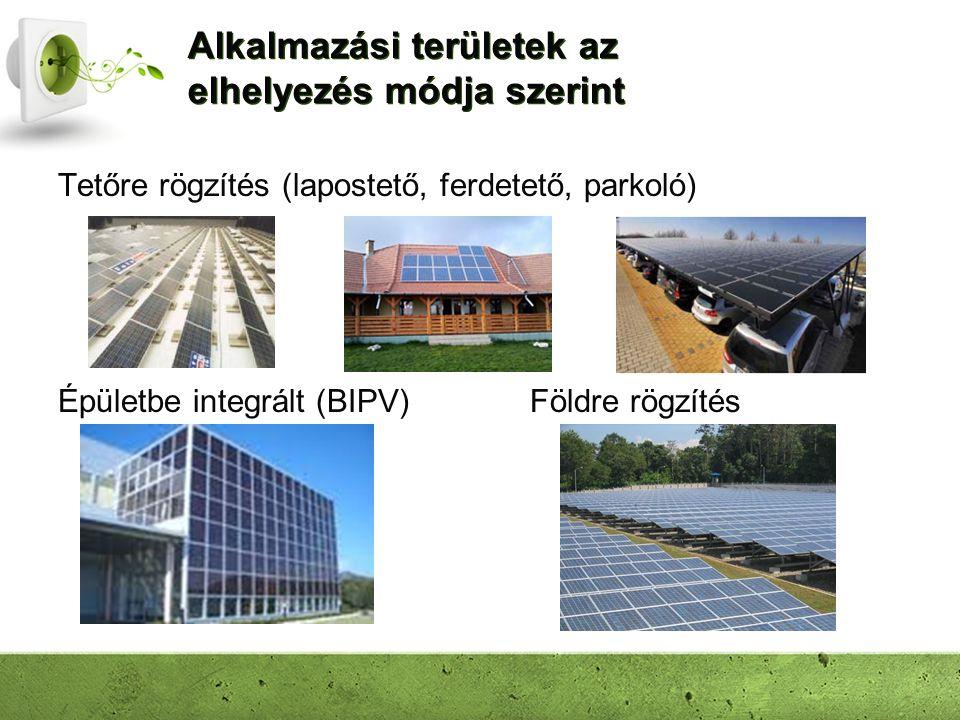 Alkalmazási területek az elhelyezés módja szerint Tetőre rögzítés (lapostető, ferdetető, parkoló) Földre rögzítésÉpületbe integrált (BIPV)