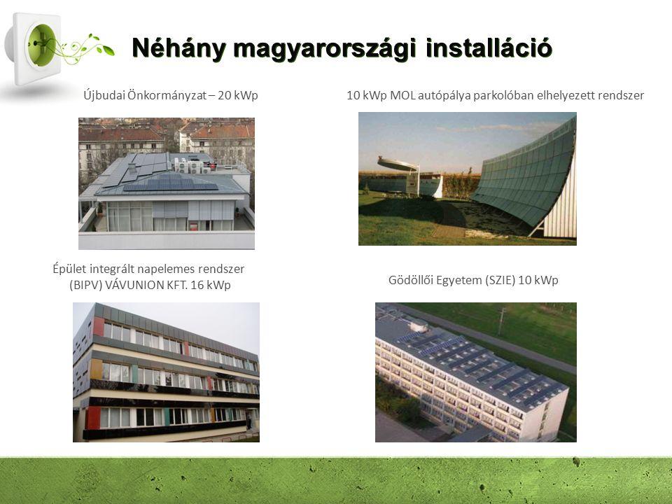 Néhány magyarországi installáció Épület integrált napelemes rendszer (BIPV) VÁVUNION KFT. 16 kWp Gödöllői Egyetem (SZIE) 10 kWp 10 kWp MOL autópálya p