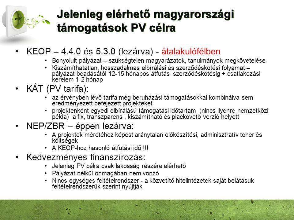 Jelenleg elérhető magyarországi támogatások PV célra KEOP – 4.4.0 és 5.3.0 (lezárva) - átalakulófélben Bonyolult pályázat – szükségtelen magyarázatok, tanulmányok megkövetelése Kiszámíthatatlan, hosszadalmas elbírálási és szerződéskötési folyamat – pályázat beadásától 12-15 hónapos átfutás szerződéskötésig + csatlakozási kérelem 1-2 hónap KÁT (PV tarifa): az érvényben lévő tarifa még beruházási támogatásokkal kombinálva sem eredményezett befejezett projekteket projektenként egyedi elbírálású támogatási időtartam (nincs ilyenre nemzetközi példa) a fix, transzparens, kiszámítható és piackövető verzió helyett NEP/ZBR – éppen lezárva: A projektek méretéhez képest aránytalan előkészítési, adminisztratív teher és költségek A KEOP-hoz hasonló átfutási idő !!.