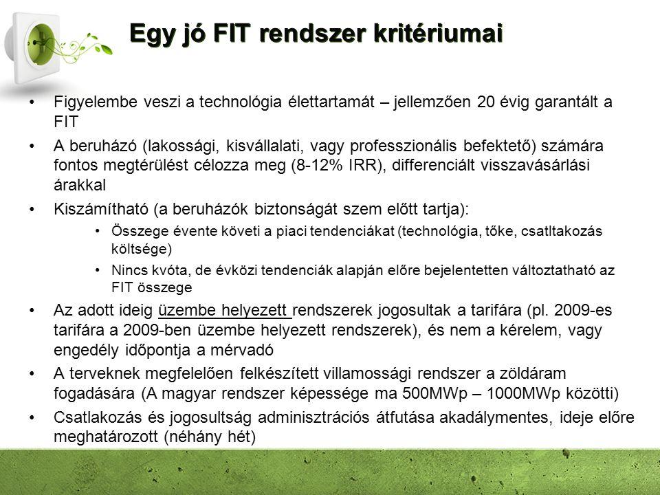 Egy jó FIT rendszer kritériumai Figyelembe veszi a technológia élettartamát – jellemzően 20 évig garantált a FIT A beruházó (lakossági, kisvállalati, vagy professzionális befektető) számára fontos megtérülést célozza meg (8-12% IRR), differenciált visszavásárlási árakkal Kiszámítható (a beruházók biztonságát szem előtt tartja): Összege évente követi a piaci tendenciákat (technológia, tőke, csatltakozás költsége) Nincs kvóta, de évközi tendenciák alapján előre bejelentetten változtatható az FIT összege Az adott ideig üzembe helyezett rendszerek jogosultak a tarifára (pl.