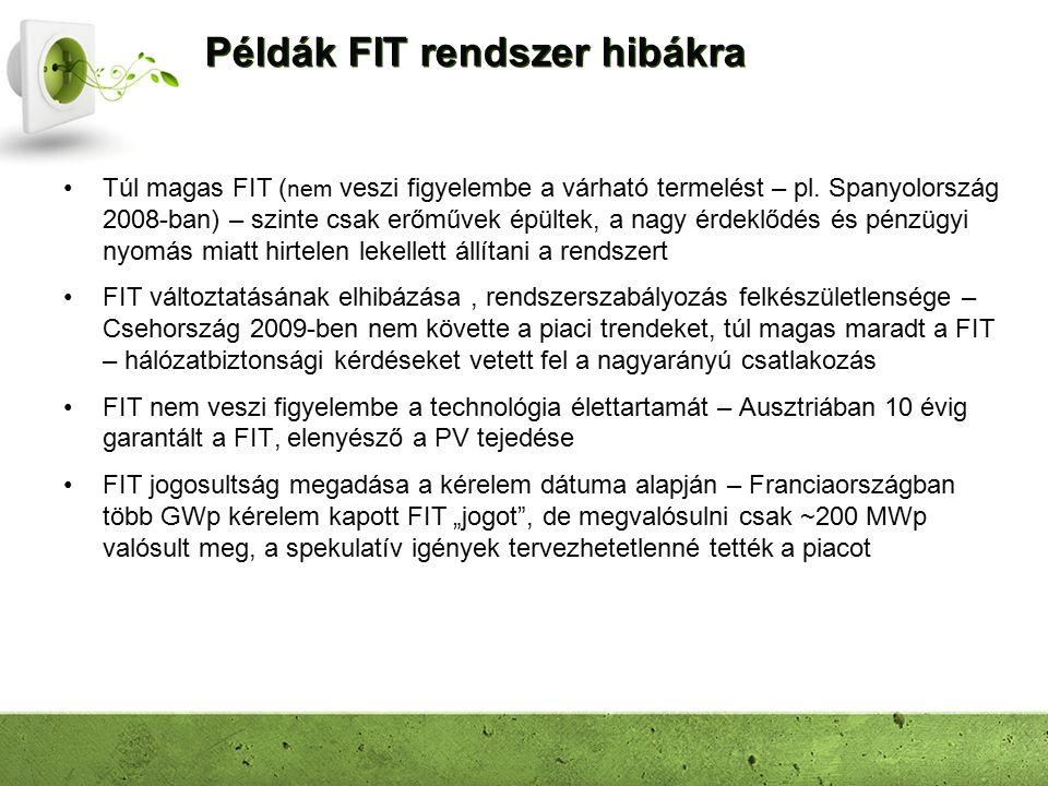 Példák FIT rendszer hibákra Túl magas FIT ( nem veszi figyelembe a várható termelést – pl. Spanyolország 2008-ban) – szinte csak erőművek épültek, a n