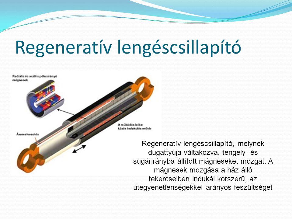 Regeneratív lengéscsillapító Regeneratív lengéscsillapító, melynek dugattyúja váltakozva, tengely- és sugárirányba állított mágneseket mozgat.