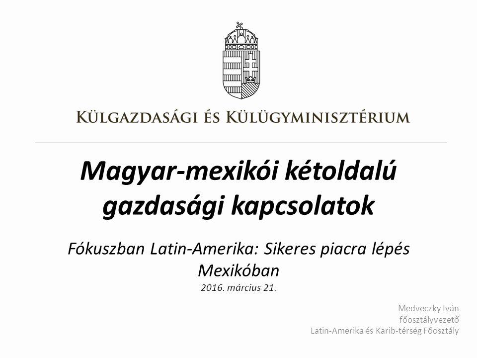 Magyar-mexikói kétoldalú gazdasági kapcsolatok Fókuszban Latin-Amerika: Sikeres piacra lépés Mexikóban 2016.
