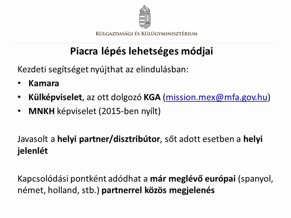 Piacra lépés lehetséges módjai Kezdeti segítséget nyújthat az elindulásban: Kamara Külképviselet, az ott dolgozó KGA (mission.mex@mfa.gov.hu)mission.mex@mfa.gov.hu MNKH képviselet (2015-ben nyílt) Javasolt a helyi partner/disztribútor, sőt adott esetben a helyi jelenlét Kapcsolódási pontként adódhat a már meglévő európai (spanyol, német, holland, stb.) partnerrel közös megjelenés