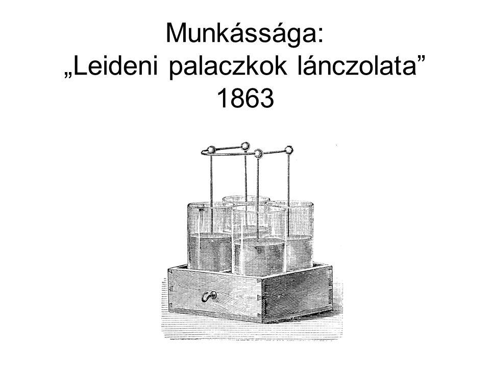 """Munkássága: """"Leideni palaczkok lánczolata"""" 1863"""
