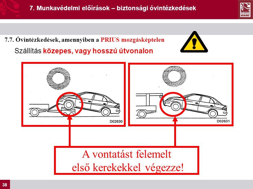 38 7. Munkavédelmi előírások – biztonsági óvintézkedések 7.7.