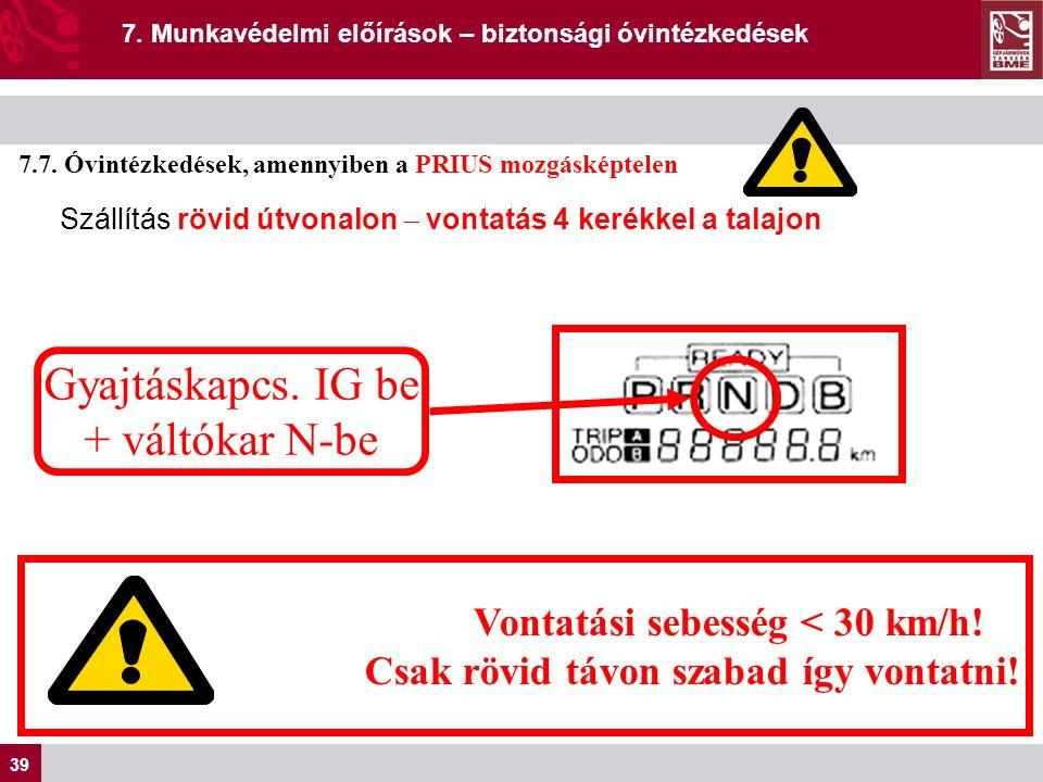 39 7. Munkavédelmi előírások – biztonsági óvintézkedések 7.7.