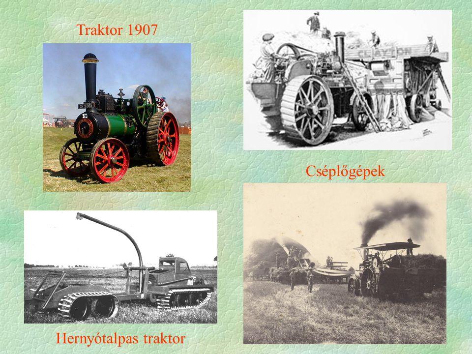 Traktor 1907 Hernyótalpas traktor Cséplőgépek