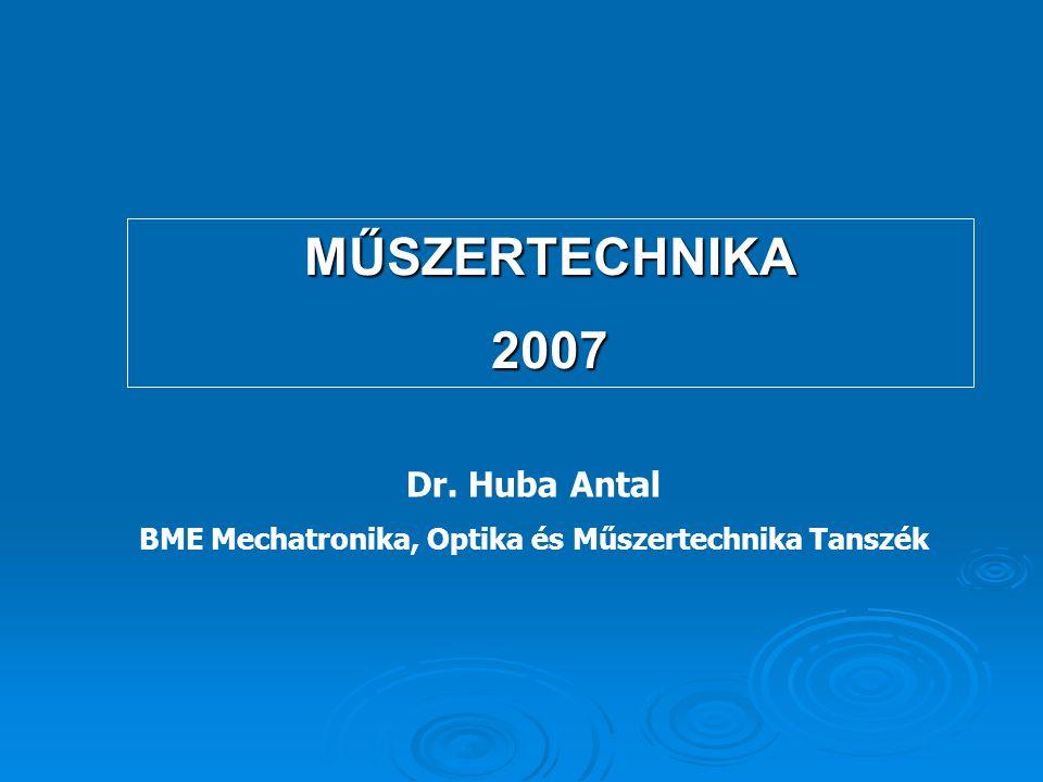 MŰSZERTECHNIKA2007 Dr. Huba Antal BME Mechatronika, Optika és Műszertechnika Tanszék