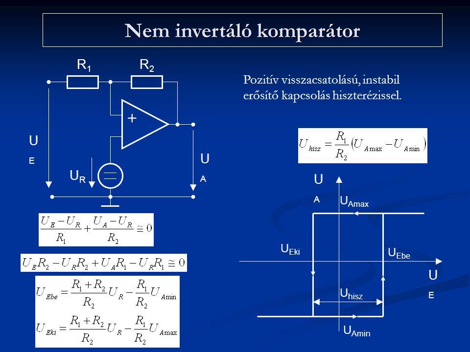 Nem invertáló komparátor + R1R1 R2R2 UAUA UEUE URUR UAUA UEUE U Ebe U Eki U hisz U Amax U Amin Pozitív visszacsatolású, instabil erősítő kapcsolás hiszterézissel.