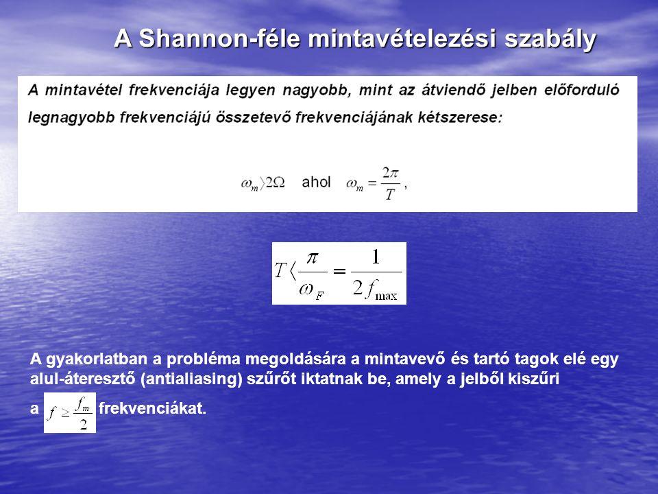 A Shannon-féle mintavételezési szabály A gyakorlatban a probléma megoldására a mintavevő és tartó tagok elé egy alul-áteresztő (antialiasing) szűrőt iktatnak be, amely a jelből kiszűri a frekvenciákat.