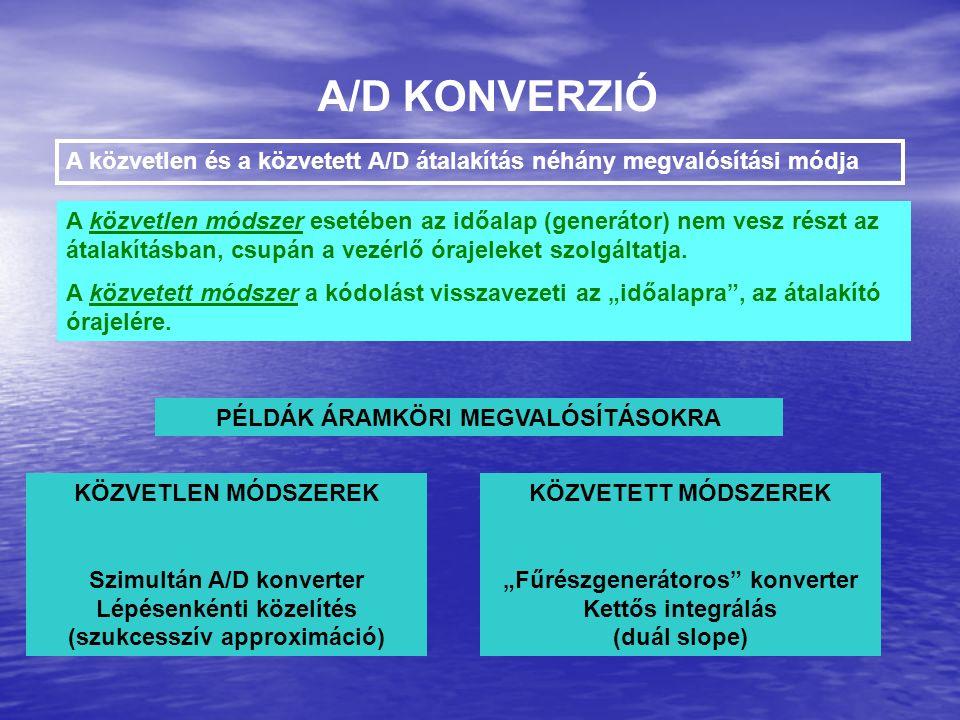A/D KONVERZIÓ A közvetlen és a közvetett A/D átalakítás néhány megvalósítási módja A közvetlen módszer esetében az időalap (generátor) nem vesz részt az átalakításban, csupán a vezérlő órajeleket szolgáltatja.