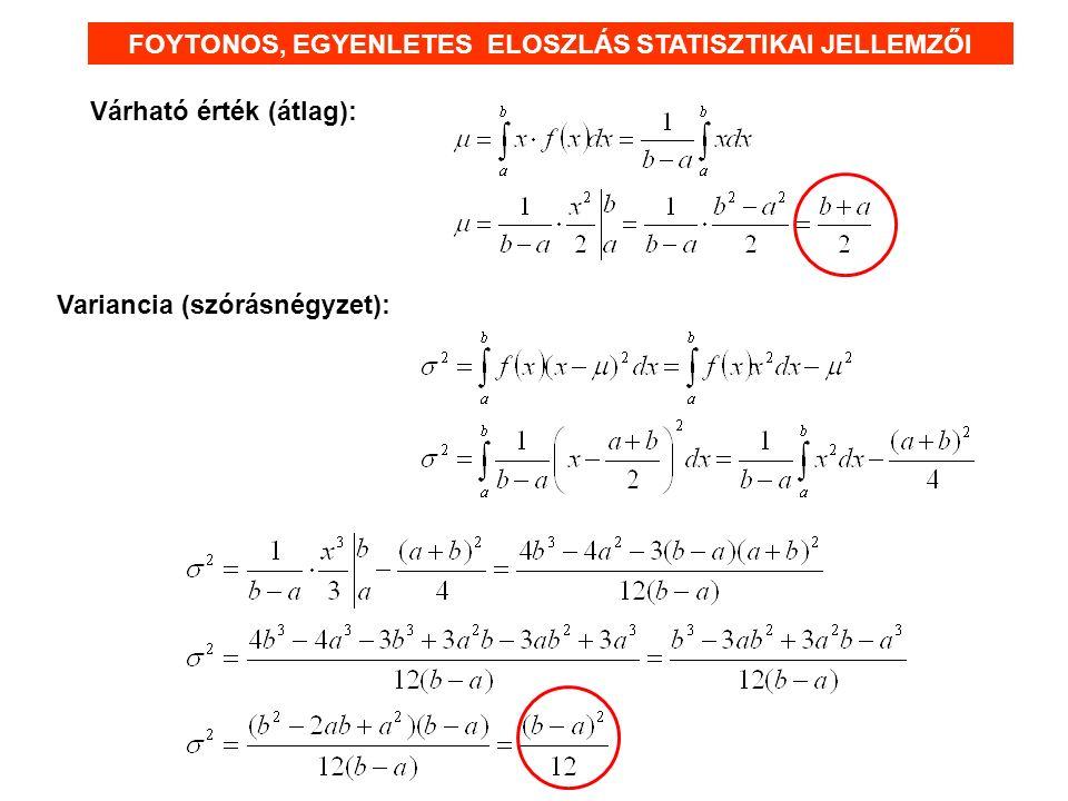 Várható érték (átlag): FOYTONOS, EGYENLETES ELOSZLÁS STATISZTIKAI JELLEMZŐI Variancia (szórásnégyzet):