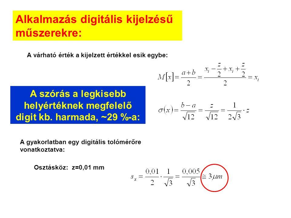 Alkalmazás digitális kijelzésű műszerekre: A várható érték a kijelzett értékkel esik egybe: A gyakorlatban egy digitális tolómérőre vonatkoztatva: Osztásköz: z=0,01 mm A szórás a legkisebb helyértéknek megfelelő digit kb.