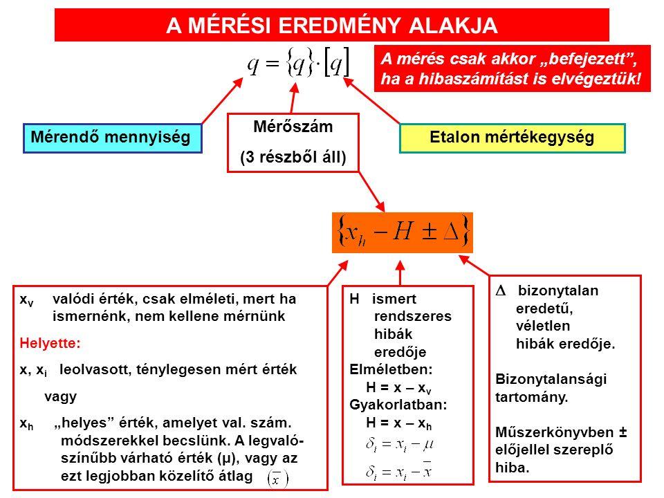 """A MÉRÉSI EREDMÉNY ALAKJA Mérendő mennyiség Mérőszám (3 részből áll) Etalon mértékegység x v valódi érték, csak elméleti, mert ha ismernénk, nem kellene mérnünk Helyette: x, x i leolvasott, ténylegesen mért érték vagy x h """"helyes érték, amelyet val."""