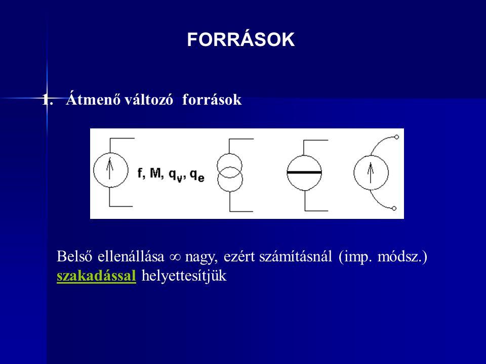 1. Átmenő változó források Belső ellenállása ∞ nagy, ezért számításnál (imp.
