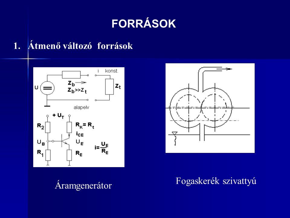 1. Átmenő változó források Fogaskerék szivattyú Áramgenerátor