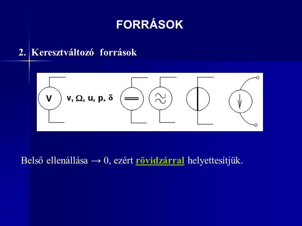 FORRÁSOK 2. Keresztváltozó források Belső ellenállása → 0, ezért rövidzárral helyettesítjük.