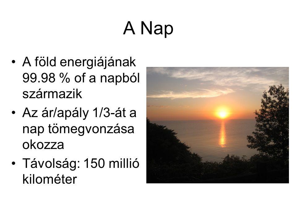 A Nap A föld energiájának 99.98 % of a napból származik Az ár/apály 1/3-át a nap tömegvonzása okozza Távolság: 150 millió kilométer