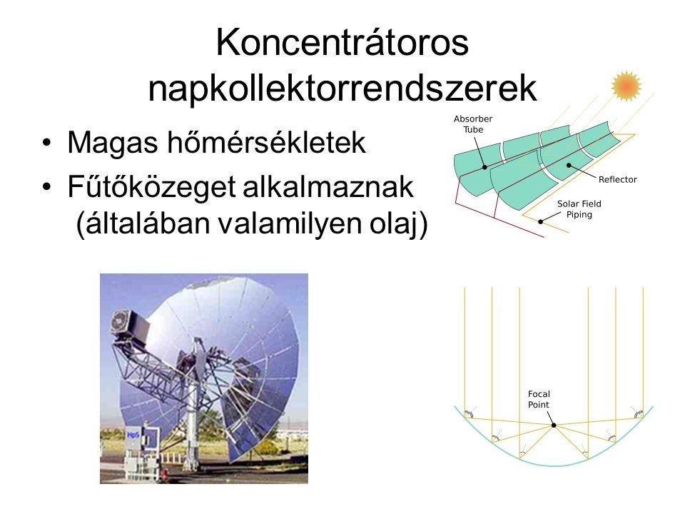 Koncentrátoros napkollektorrendszerek Magas hőmérsékletek Fűtőközeget alkalmaznak (általában valamilyen olaj)
