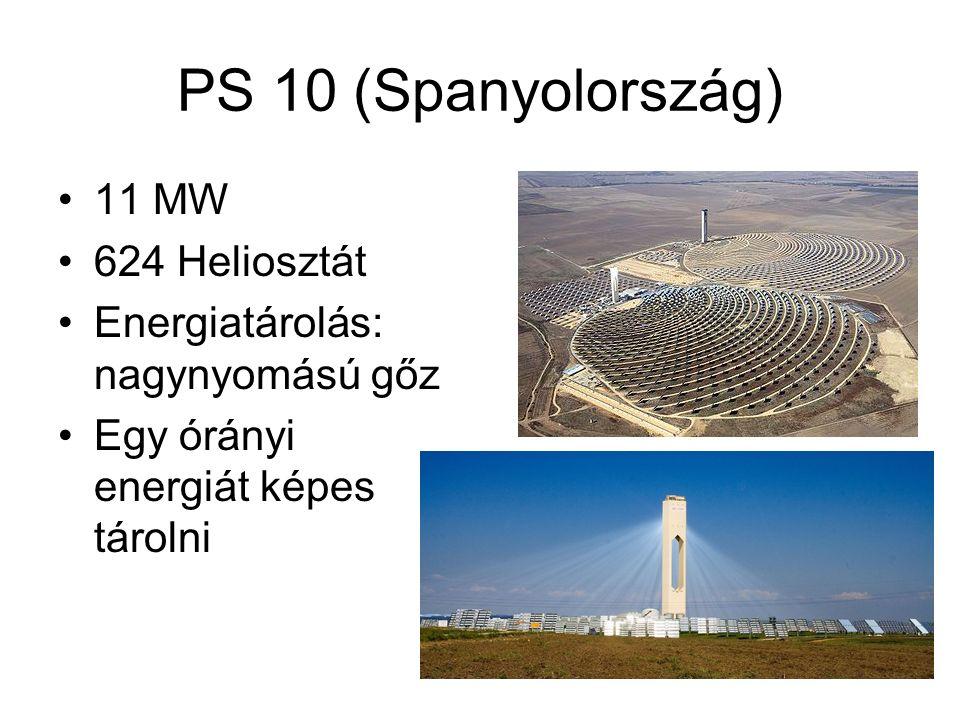 PS 10 (Spanyolország) 11 MW 624 Heliosztát Energiatárolás: nagynyomású gőz Egy órányi energiát képes tárolni