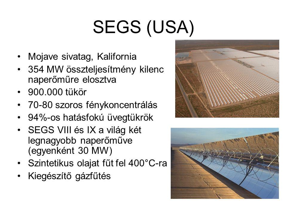 SEGS (USA) Mojave sivatag, Kalifornia 354 MW összteljesítmény kilenc naperőműre elosztva 900.000 tükör 70-80 szoros fénykoncentrálás 94%-os hatásfokú üvegtükrök SEGS VIII és IX a világ két legnagyobb naperőműve (egyenként 30 MW) Szintetikus olajat fűt fel 400°C-ra Kiegészítő gázfűtés
