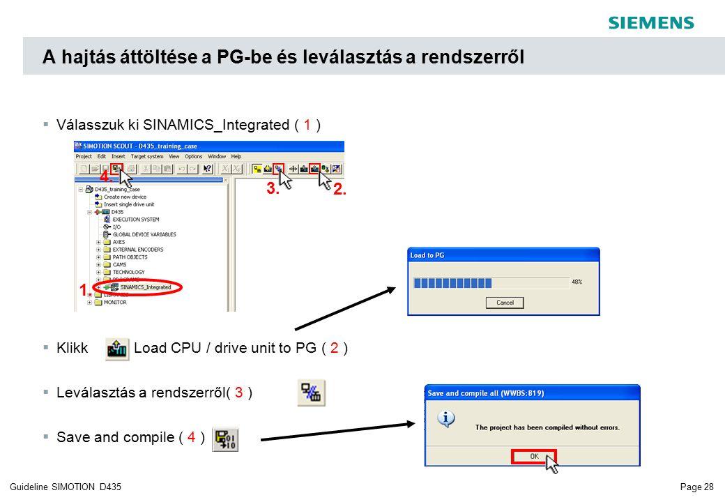 Page 28Guideline SIMOTION D435  Válasszuk ki SINAMICS_Integrated ( 1 )  Klikk Load CPU / drive unit to PG ( 2 )  Leválasztás a rendszerről( 3 )  Save and compile ( 4 ) A hajtás áttöltése a PG-be és leválasztás a rendszerről 4.