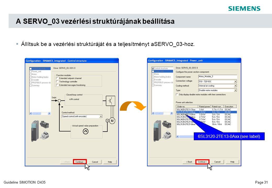 Page 31Guideline SIMOTION D435 A SERVO_03 vezérlési struktúrájának beállítása 6SL3120-2TE13-0Axx (see label)  Állítsuk be a vezérlési struktúráját és a teljesítményt aSERVO_03-hoz.