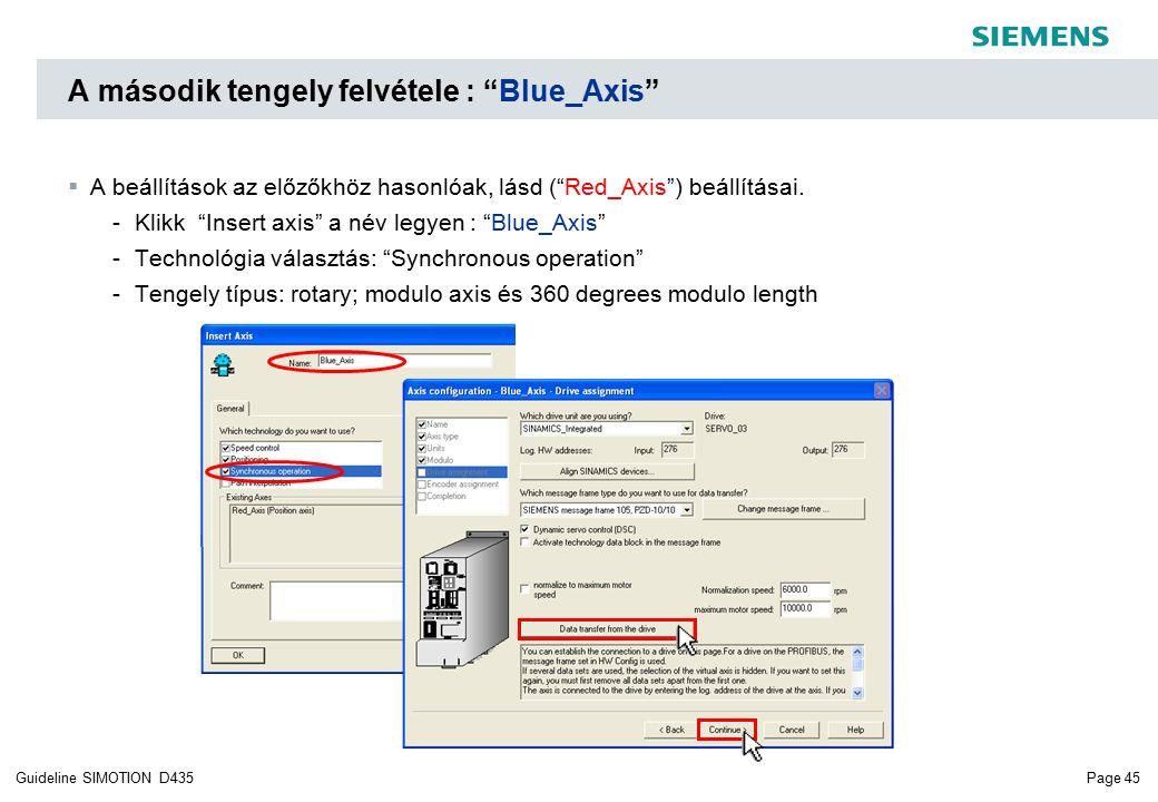 Page 45Guideline SIMOTION D435 A második tengely felvétele : Blue_Axis  A beállítások az előzőkhöz hasonlóak, lásd ( Red_Axis ) beállításai.