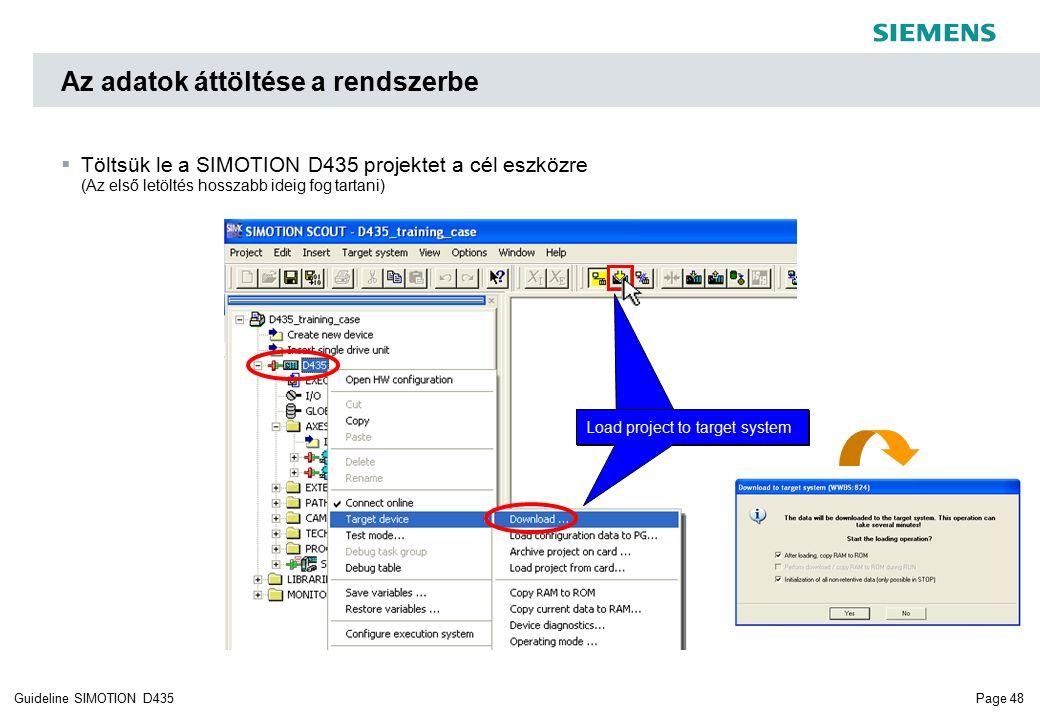 Page 48Guideline SIMOTION D435  Töltsük le a SIMOTION D435 projektet a cél eszközre (Az első letöltés hosszabb ideig fog tartani) Az adatok áttöltése a rendszerbe Load project to target system
