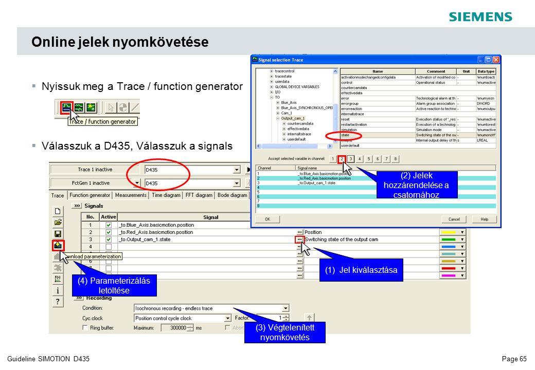 Page 65Guideline SIMOTION D435 Online jelek nyomkövetése  Nyissuk meg a Trace / function generator  Válasszuk a D435, Válasszuk a signals (1) Jel kiválasztása (2) Jelek hozzárendelése a csatornához (3) Végtelenített nyomkövetés (4) Parameterizálás letöltése