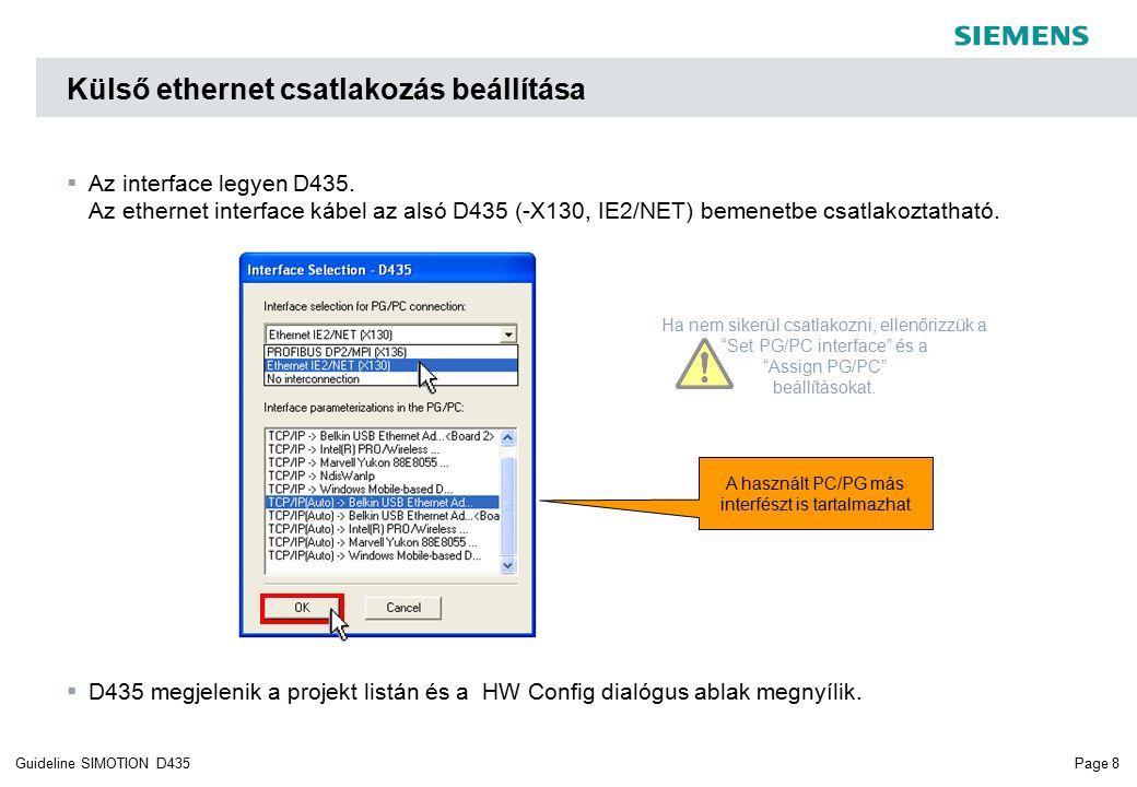 Page 8Guideline SIMOTION D435  Az interface legyen D435.