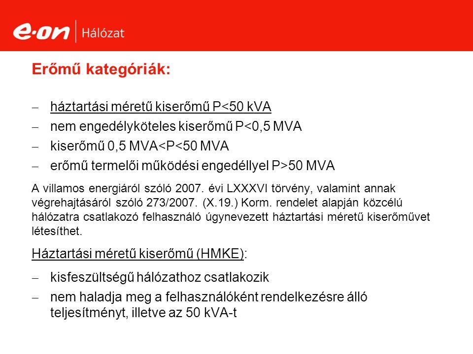 Erőmű kategóriák:  háztartási méretű kiserőmű P<50 kVA  nem engedélyköteles kiserőmű P<0,5 MVA  kiserőmű 0,5 MVA<P<50 MVA  erőmű termelői működési engedéllyel P>50 MVA A villamos energiáról szóló 2007.