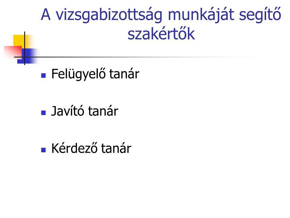 A vizsgabizottság munkáját segítő szakértők Felügyelő tanár Javító tanár Kérdező tanár