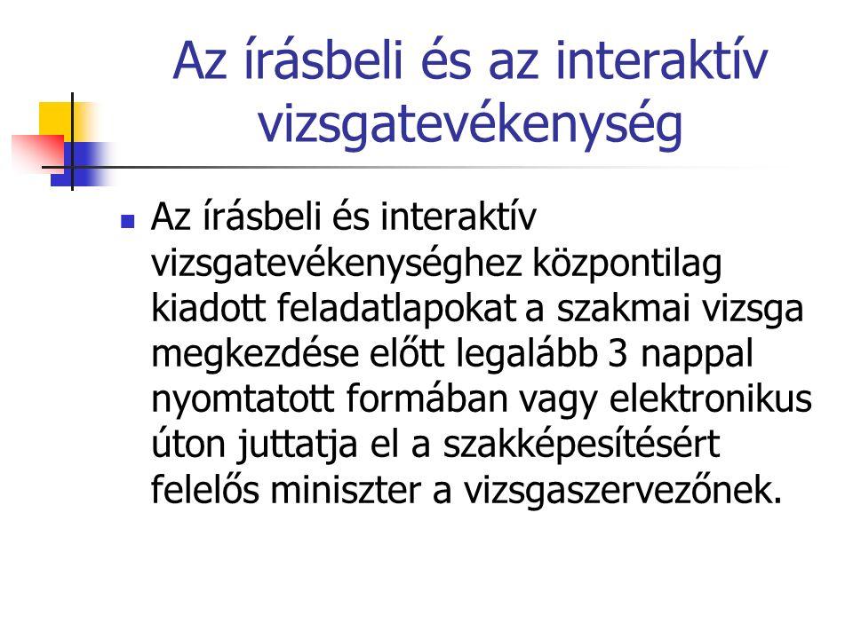 Az írásbeli és az interaktív vizsgatevékenység Az írásbeli és interaktív vizsgatevékenységhez központilag kiadott feladatlapokat a szakmai vizsga megk
