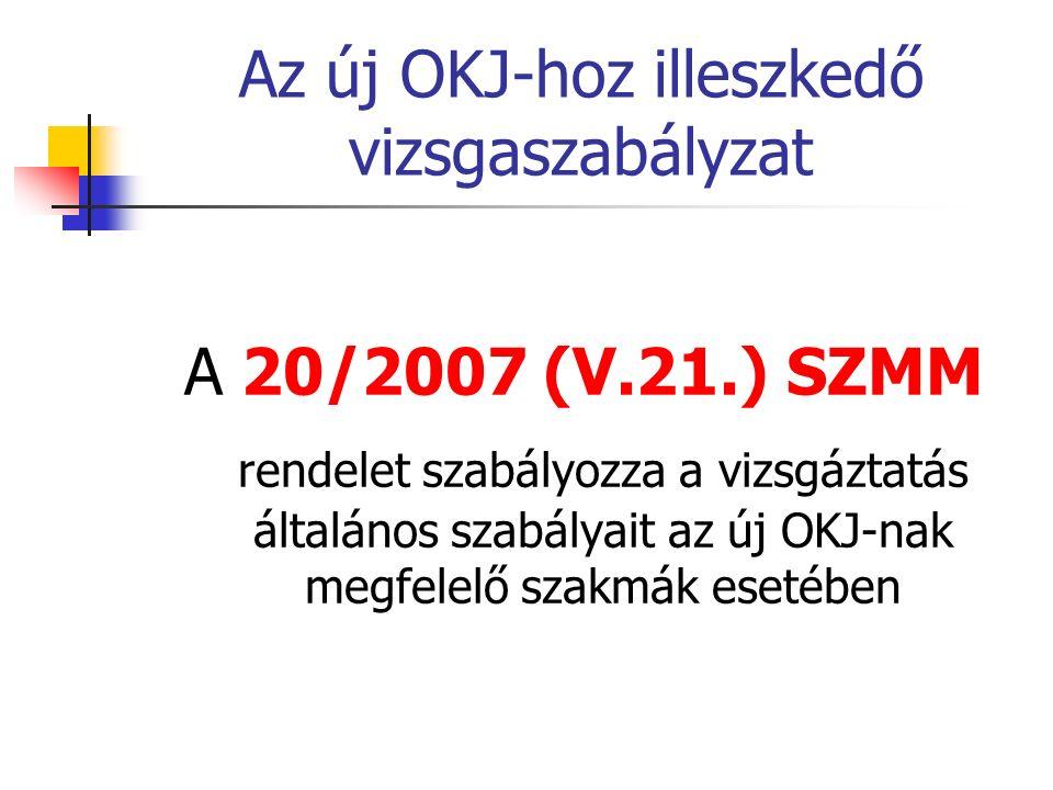 Az új OKJ-hoz illeszkedő vizsgaszabályzat A 20/2007 (V.21.) SZMM rendelet szabályozza a vizsgáztatás általános szabályait az új OKJ-nak megfelelő szak