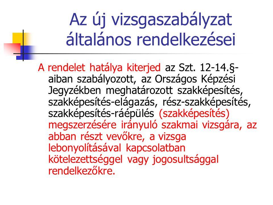 Az új vizsgaszabályzat általános rendelkezései A rendelet hatálya kiterjed az Szt. 12-14.§- aiban szabályozott, az Országos Képzési Jegyzékben meghatá