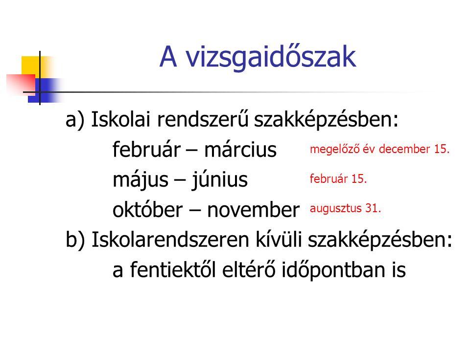 A vizsgaidőszak a) Iskolai rendszerű szakképzésben: február – március május – június október – november b) Iskolarendszeren kívüli szakképzésben: a fentiektől eltérő időpontban is megelőző év december 15.
