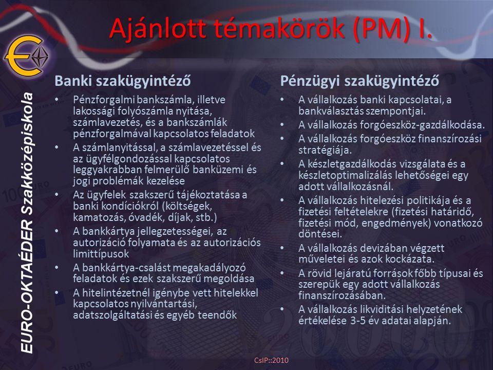 Ajánlott témakörök (PM) I. Banki szakügyintéző Pénzforgalmi bankszámla, illetve lakossági folyószámla nyitása, számlavezetés, és a bankszámlák pénzfor