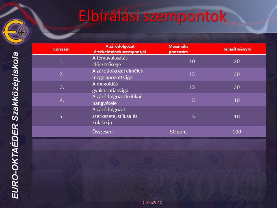 Elbírálási szempontok CsIP::2010
