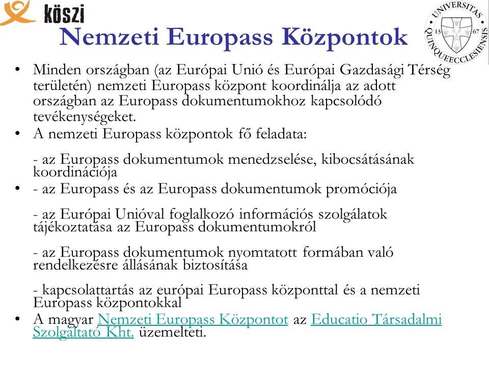 Nemzeti Europass Központok Minden országban (az Európai Unió és Európai Gazdasági Térség területén) nemzeti Europass központ koordinálja az adott országban az Europass dokumentumokhoz kapcsolódó tevékenységeket.