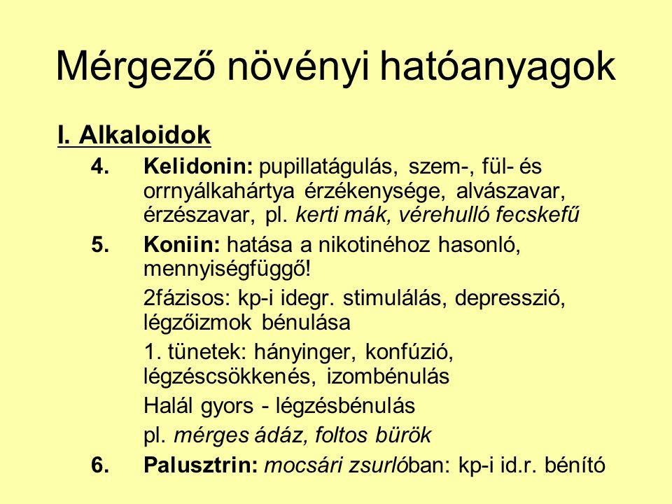 Mérgező növényi hatóanyagok I. Alkaloidok 4.Kelidonin: pupillatágulás, szem-, fül- és orrnyálkahártya érzékenysége, alvászavar, érzészavar, pl. kerti