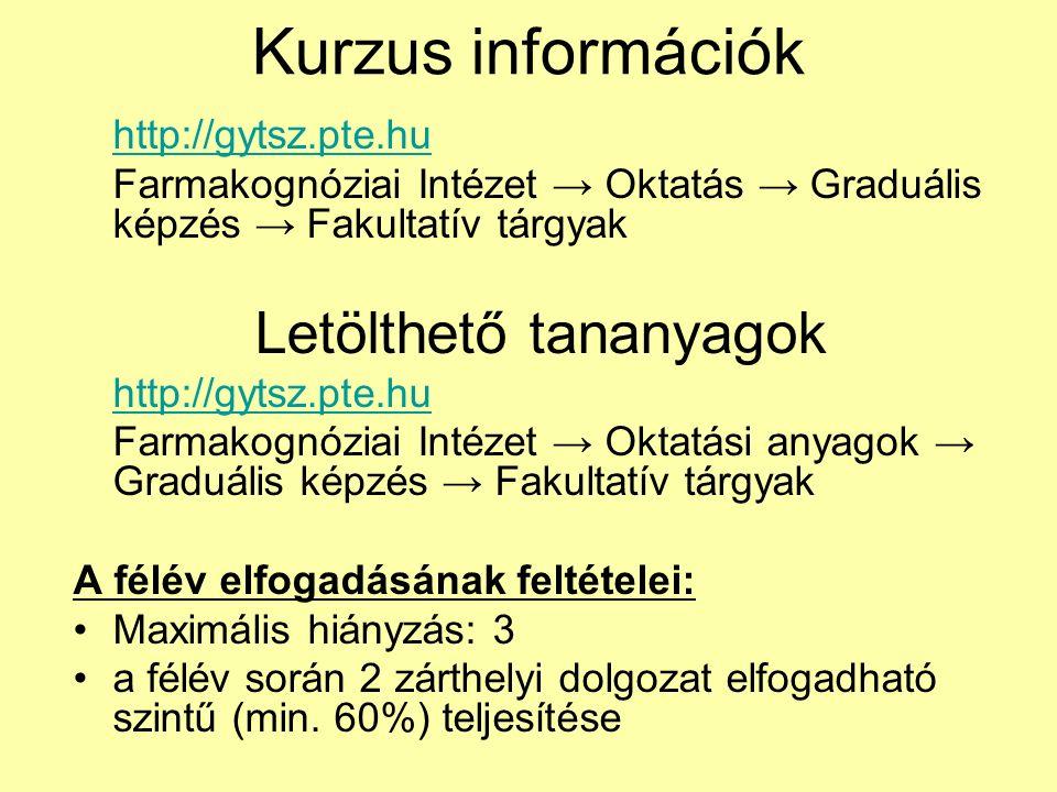 Kurzus információk http://gytsz.pte.hu Farmakognóziai Intézet → Oktatás → Graduális képzés → Fakultatív tárgyak Letölthető tananyagok http://gytsz.pte