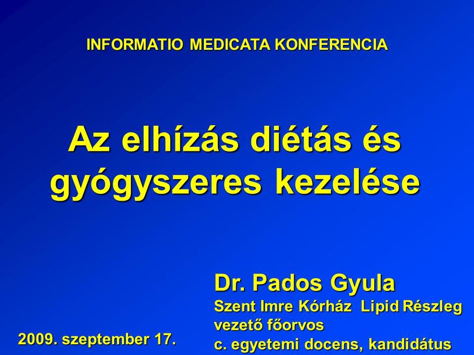 INFORMATIO MEDICATA KONFERENCIA Az elhízás diétás és gyógyszeres kezelése Dr.