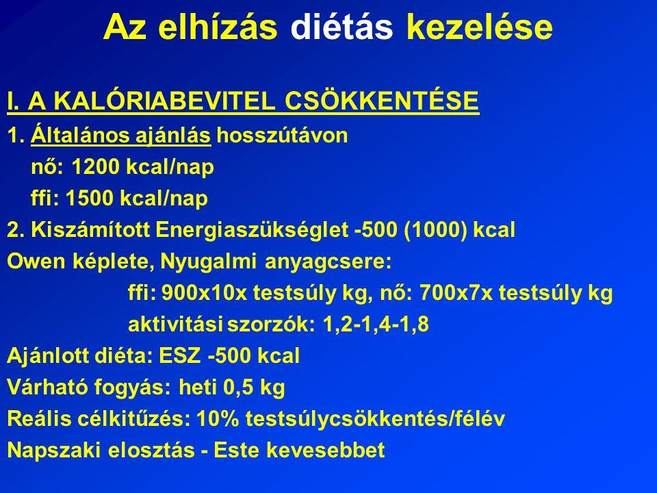 Az elhízás diétás kezelése I. A KALÓRIABEVITEL CSÖKKENTÉSE 1.