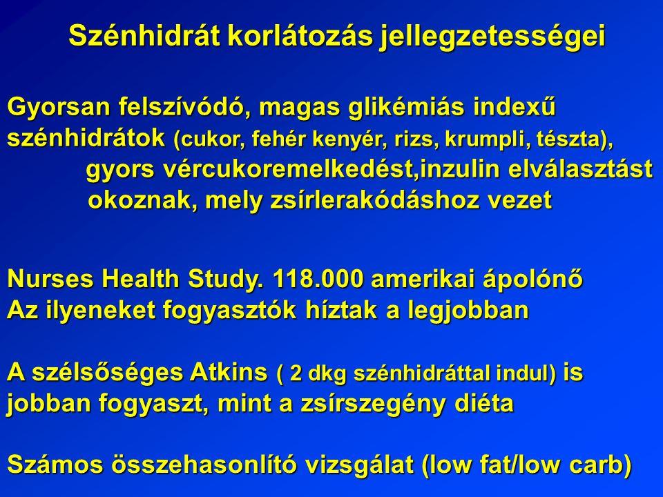 Szénhidrát korlátozás jellegzetességei Gyorsan felszívódó, magas glikémiás indexű szénhidrátok (cukor, fehér kenyér, rizs, krumpli, tészta), gyors vércukoremelkedést,inzulin elválasztást okoznak, mely zsírlerakódáshoz vezet Nurses Health Study.